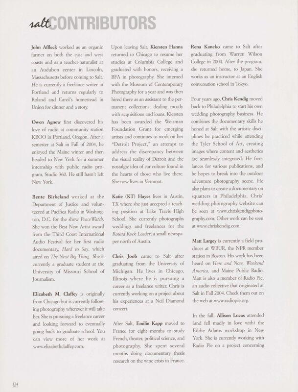 Salt 2005-2006 Magazine, Contributors
