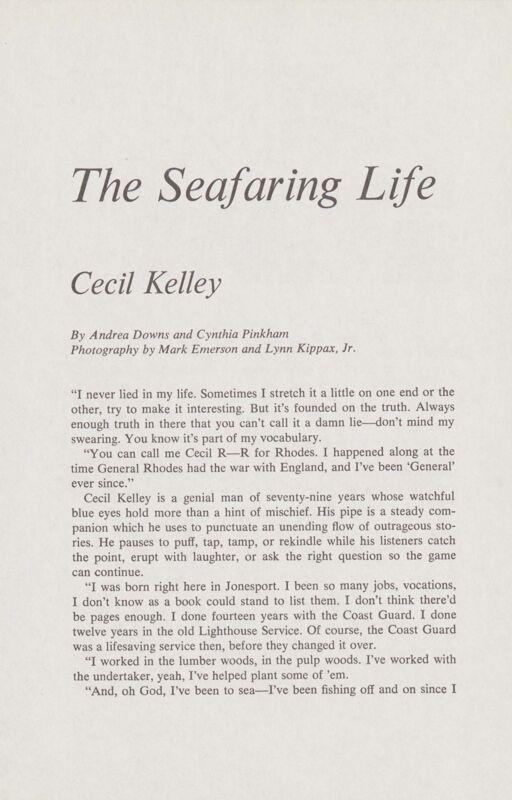 Seafaring: Cecil Kelley
