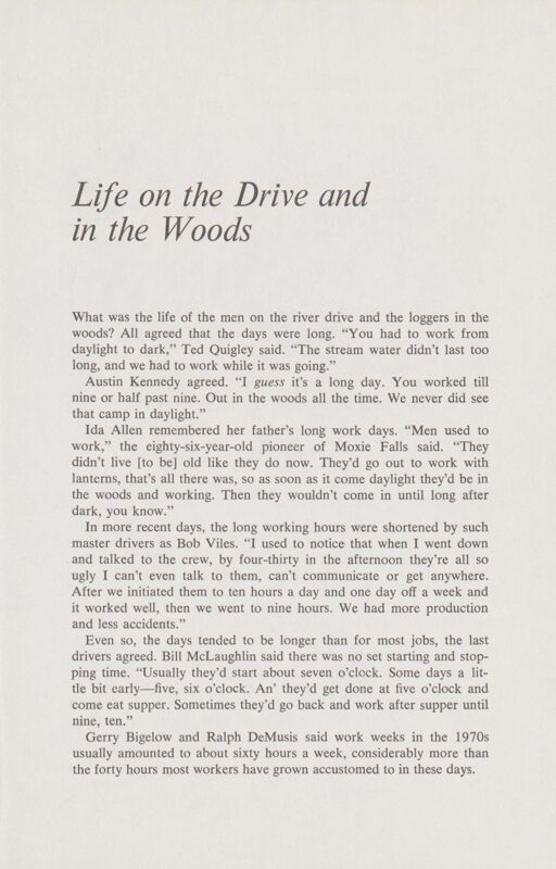 River Driving: Life on the Drive in the Woods