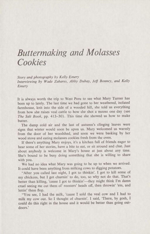 Buttermaking and Molasses Cookies