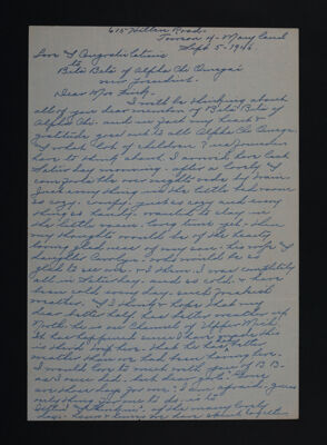Bertha Deniston Cunningham to Beta Beta Chapter Letter, September 5, 1946