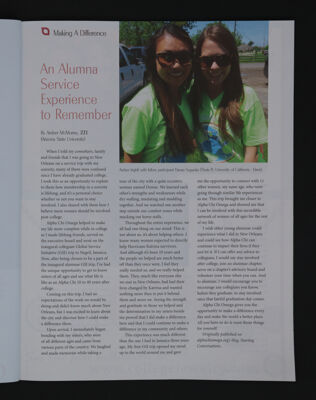 An Alumna Service Experience to Remember, Fall 2015