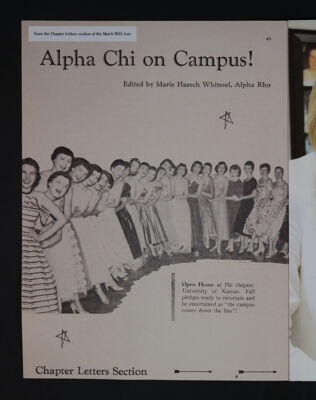 Alpha Chi on Campus! From the March 1955 Lyre