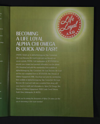 Becoming a Life Loyal Alpha Chi Omega is Quick and Easy!, Fall 2015