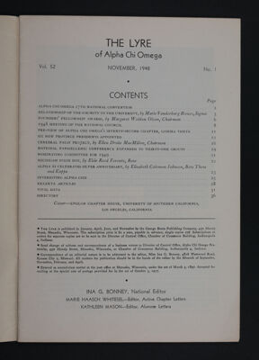 The Lyre of Alpha Chi Omega, Vol. 52, No. 1 Table of Contents