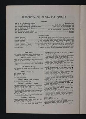 Directory of Alpha Chi Omega, November 1948