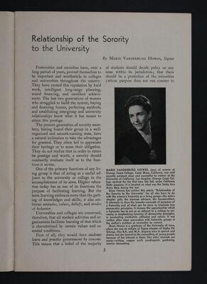 Relationship of the Sorority to the University, November 1948