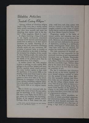 Eklekta Articles: Twentieth Century Religion, November 1948