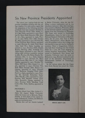 Six New Province Presidents Appointed, November 1948