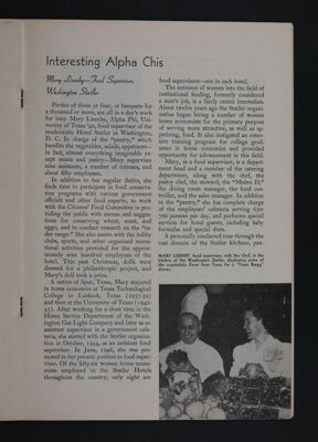 Interesting Alpha Chis: Mary Lisenby - Food Supervisor, Washington Statler, November 1948