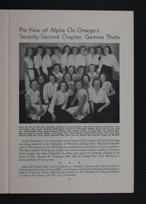 Pre-View of Alpha Chi Omega's Seventh-Second Chapter, Gamma Theta, November 1948