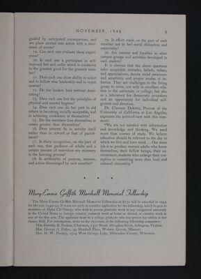 Mary-Emma Griffith Marshall Memorial Fellowship, November 1948