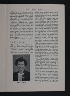 Interesting Alpha Chis: First Woman Principal, November 1948