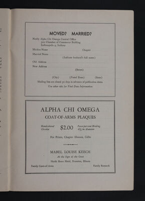 Alpha Chi Omega Coat-of-Arms Plaques Advertisement, November 1948