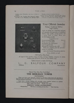 L.G. Balfour Company Advertisement, November 1948