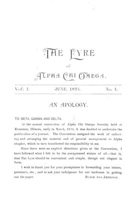 The Lyre of Alpha Chi Omega, Vol. 1, No. 1, June 1894
