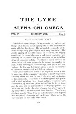 The Lyre of Alpha Chi Omega, Vol. 5, No. 4, January 1902