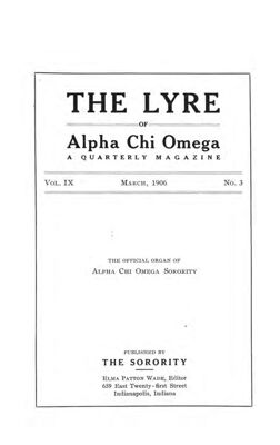 The Lyre of Alpha Chi Omega, Vol. 9, No. 3, March 1906