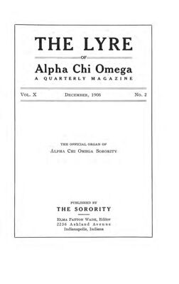 The Lyre of Alpha Chi Omega, Vol. 10, No. 2, December 1906
