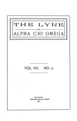 The Lyre of Alpha Chi Omega, Vol. 7, No. 3, November 1903