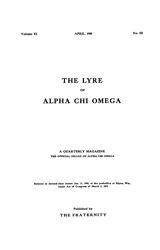 The Lyre of Alpha Chi Omega, Vol. 11, No. 3, April 1908