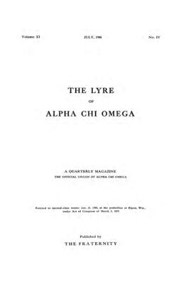 The Lyre of Alpha Chi Omega, Vol. 11, No. 4, July 1908