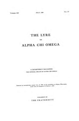 The Lyre of Alpha Chi Omega, Vol. 12, No. 4, July 1909