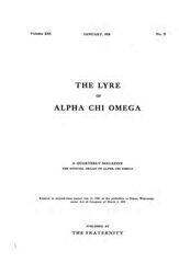 The Lyre of Alpha Chi Omega, Vol. 13, No. 2, January 1910