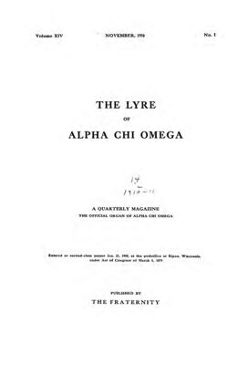 The Lyre of Alpha Chi Omega, Vol. 14, No. 1, November 1910