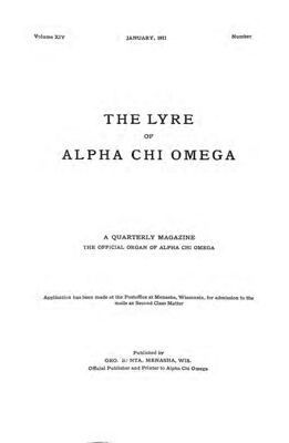 The Lyre of Alpha Chi Omega, Vol. 14, No. 2, January 1911