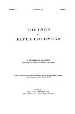 The Lyre of Alpha Chi Omega, Vol. 15, No. 2, January 1912