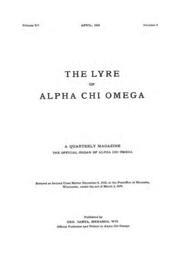 The Lyre of Alpha Chi Omega, Vol. 15, No. 3, April 1912