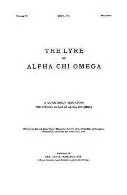 The Lyre of Alpha Chi Omega, Vol. 15, No. 4, July 1912