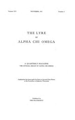 The Lyre of Alpha Chi Omega, Vol. 16, No. 1, November 1912