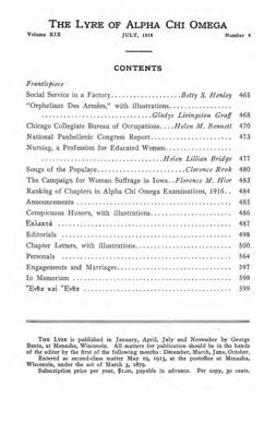 The Lyre of Alpha Chi Omega, Vol. 19, No. 4, July 1916