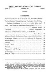 The Lyre of Alpha Chi Omega, Vol. 20, No. 1, November 1916