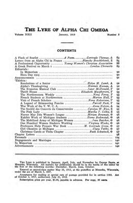 The Lyre of Alpha Chi Omega, Vol. 22, No. 2, January 1919