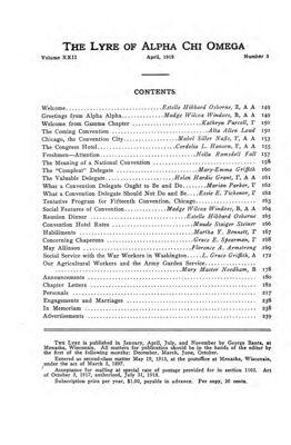 The Lyre of Alpha Chi Omega, Vol. 22, No. 3, April 1919