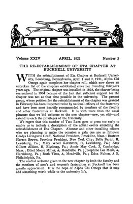 The Lyre of Alpha Chi Omega, Vol. 24, No. 3, April 1921