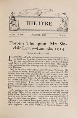 The Lyre of Alpha Chi Omega, Vol. 33, No. 1, October 1929