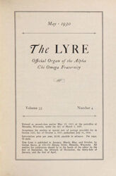 The Lyre of Alpha Chi Omega, Vol. 33, No. 4, May 1930