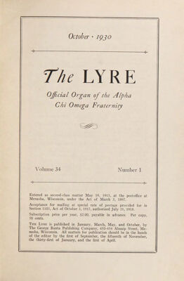 The Lyre of Alpha Chi Omega, Vol. 34, No. 1, October 1930
