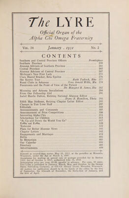The Lyre of Alpha Chi Omega, Vol. 34, No. 2, January 1931