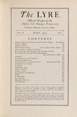 The Lyre of Alpha Chi Omega, Vol. 34, No. 3, March 1931