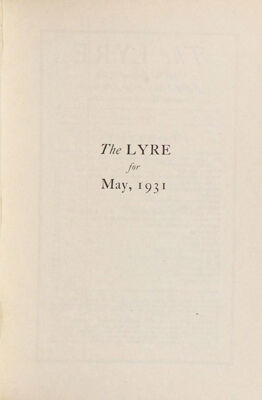 The Lyre of Alpha Chi Omega, Vol. 34, No. 4, May 1931