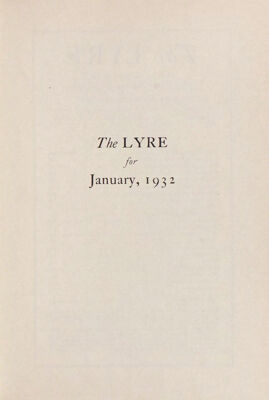 The Lyre of Alpha Chi Omega, Vol. 35, No. 2, January 1932