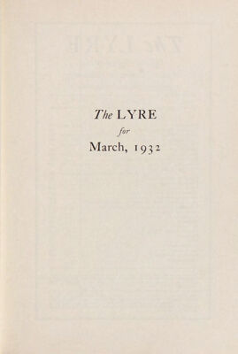The Lyre of Alpha Chi Omega, Vol. 35, No. 3, March 1932