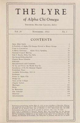 The Lyre of Alpha Chi Omega, Vol. 36, No. 1, November 1932