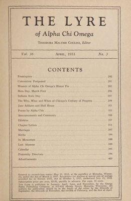 The Lyre of Alpha Chi Omega, Vol. 36, No. 3, April 1933