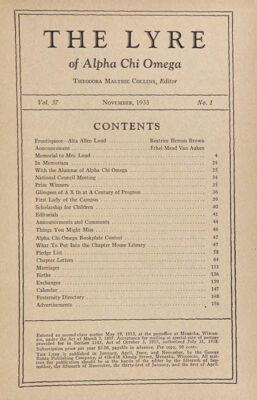 The Lyre of Alpha Chi Omega, Vol. 37, No. 1, November 1933